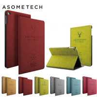 ASOMETECH For IPad 2 3 4 Universal Leather Case Smart Awake Sleep Flip Cover Deer 3D