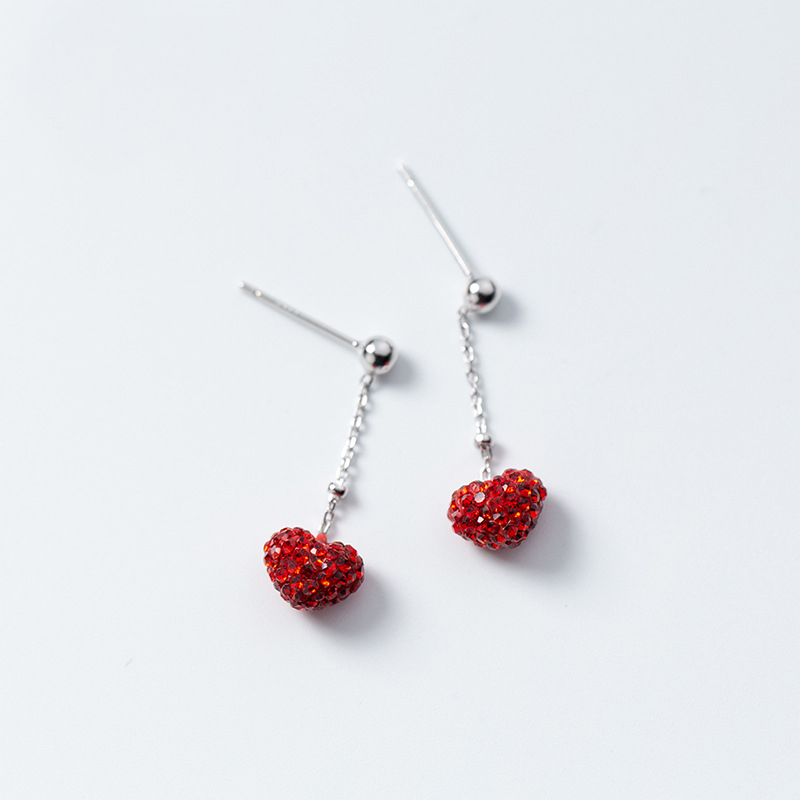 MloveAcc Genuine 925 Sterling Silver Red Heart Romantic Drop Earrings for Women Anniversary Wedding Fashion Jewelry Gift