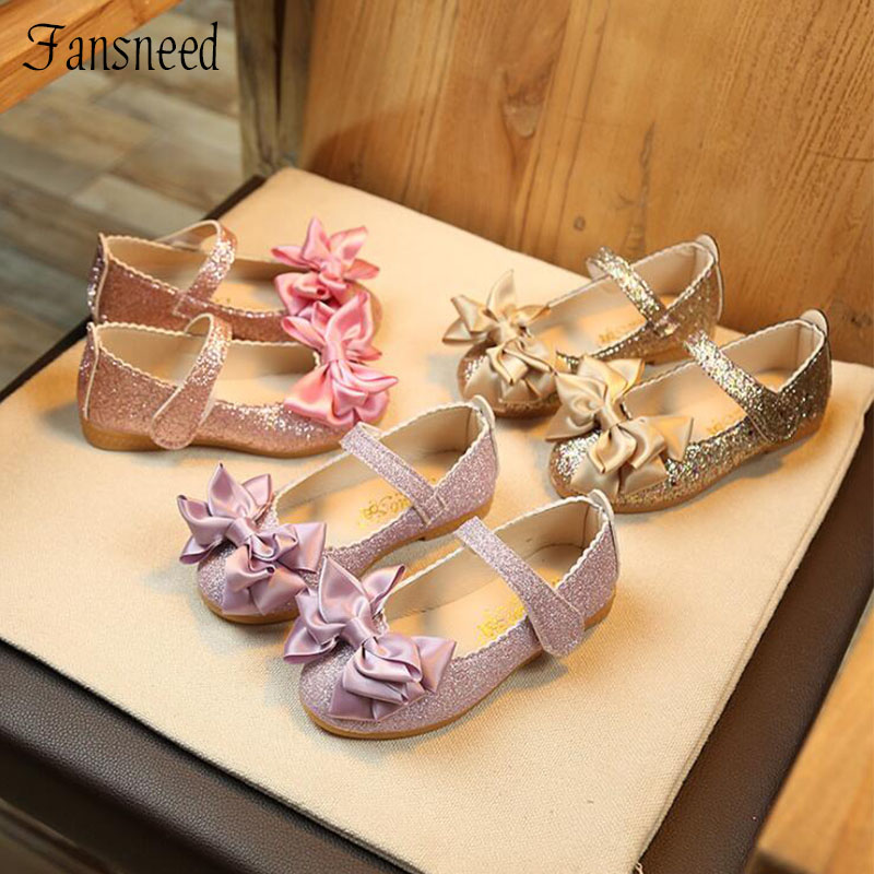 2019 New Children Single Shoes Girls Spring Bright Leather Princess Bow Shoes Baby Tendon Sole Elegant Flat Single Shoes