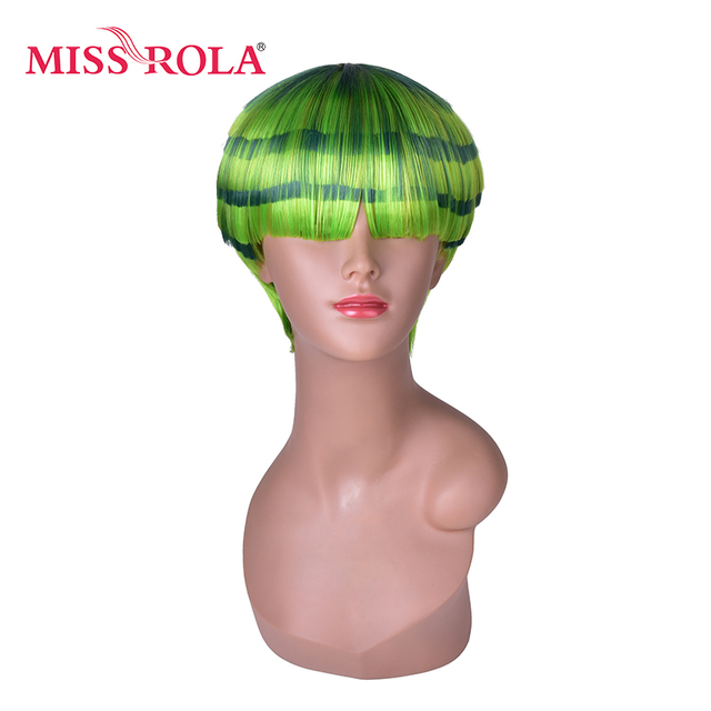 Miss Rola 5inch Short Straight Cute Wig Light Green Watermelon Style Hair  Piece Synthetic Full Cosplay 48a93ebb3a12
