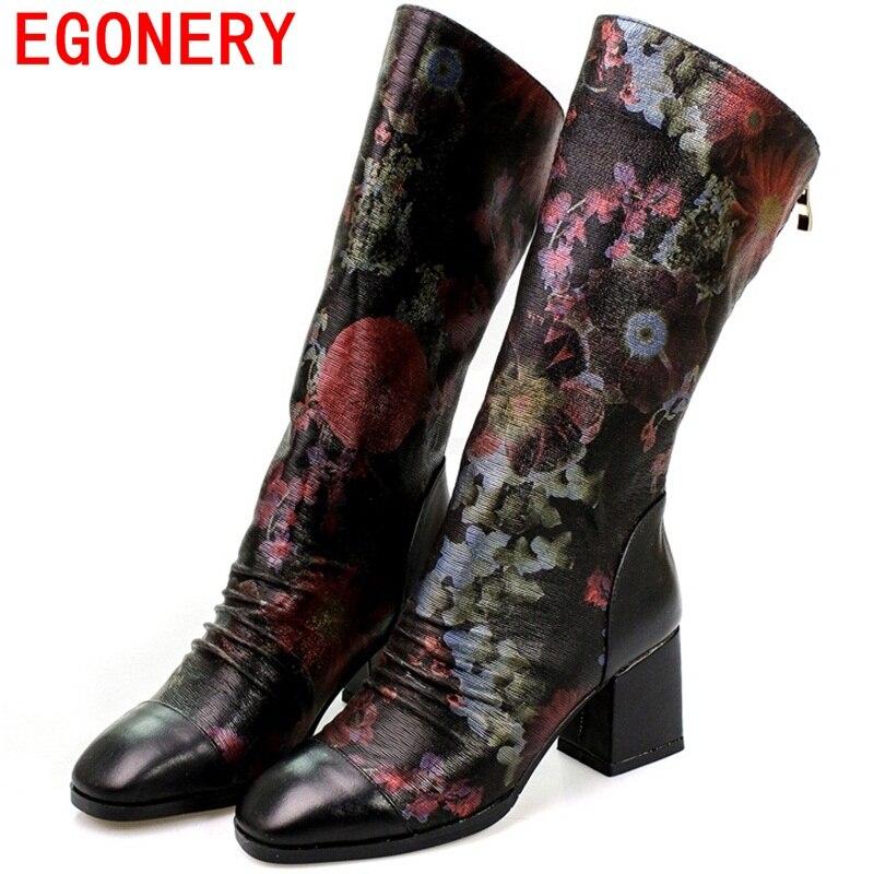 ФОТО EGONERY shoes 2017 elegant women fahsion mid calf boots queen lady sexy concise flowers side zipper square high heels sheepskin