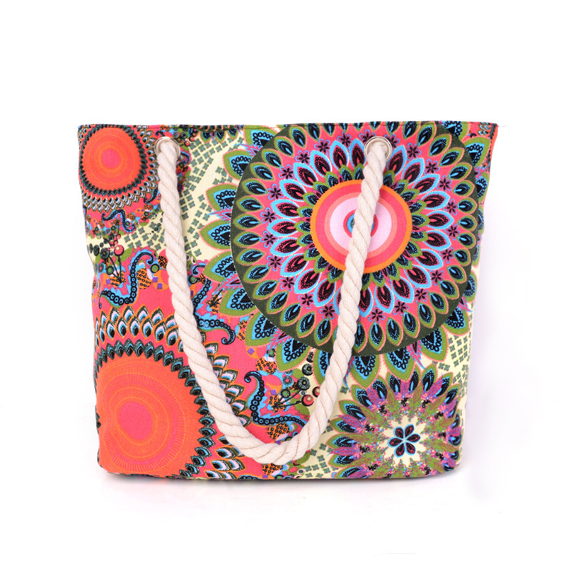 Brand New Women Bag Vintage Canvas Handbags Casual Women Bag Big Shoulder Canvas Floral Printing Shoulder Beach Bags Summer 2017