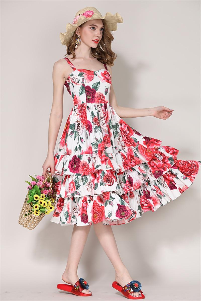 2018 Summer Sleeveless White Floral Print Cascading Ruffle Layer