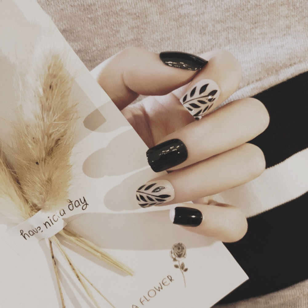 Накладные ногти ELECOOL 24 шт., искусственные ногти с мраморными черными листвами, Длинные акриловые накладные ногти с полным покрытием, накладные ногти