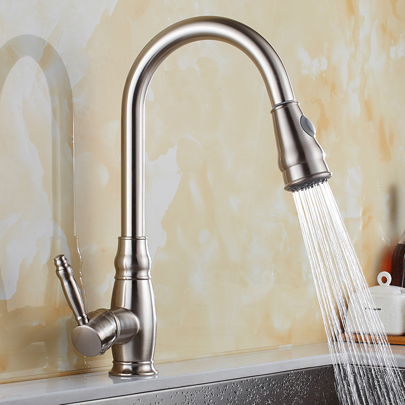 Brushed Nickel Kitchen Faucet Tap Cold and Hot Pull Out Kitchen Faucet Tap Shower Sprayer Head Kitchen Sink Faucet Mixer Tap modern kitchen sink faucet mixer chrome finish kitchen double sprayer pull out water tap torneira cozinha rotate hot cold tap