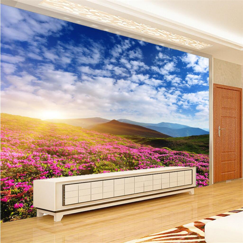 Beibehang Menyesuaikan Setiap Ukuran Wallpaper Fresco Foto Estetika Romantis Wonderland Prairie Bunga Dinding Latar Belakang TV
