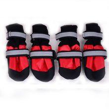 Водонепроницаемый теплая большая собачья обувь зимняя большая комнатная Спорт на открытом воздухе длинные собак маленьких собак, нескользящая Ткань Оксфорд обувь 4 шт./компл