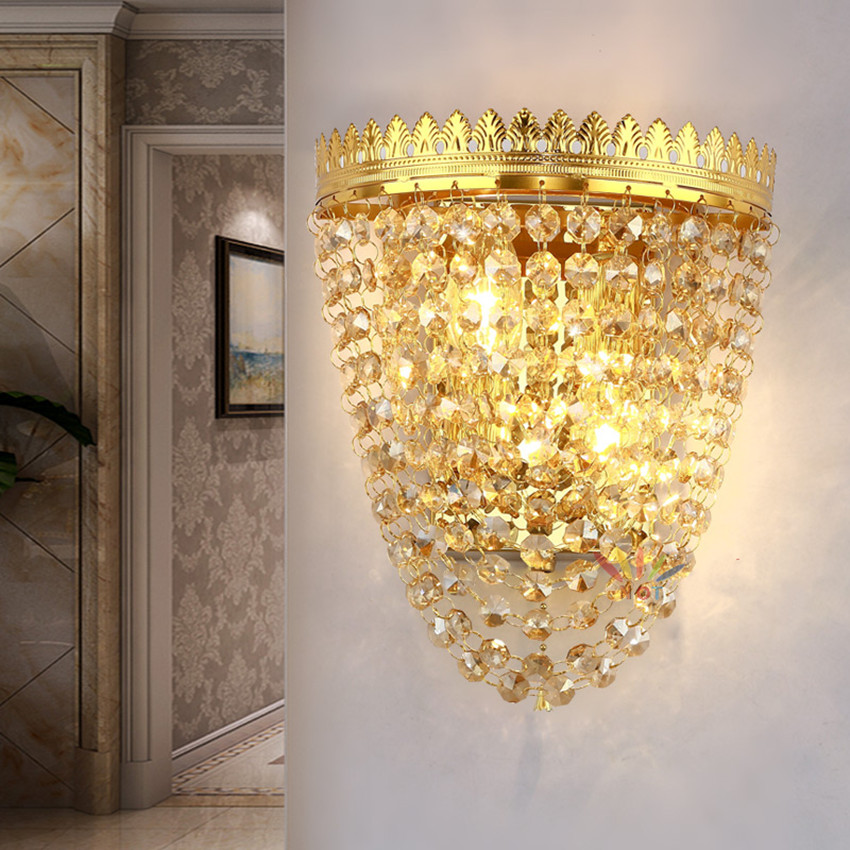 European crystal wall lamp bedroom bedside wall lamp living room background wall golden hotel project led wall light 220V simple modern crystal wall lamp bedroom bedside led wall lamp living room sofa background wall lamp villa hotel staircase light
