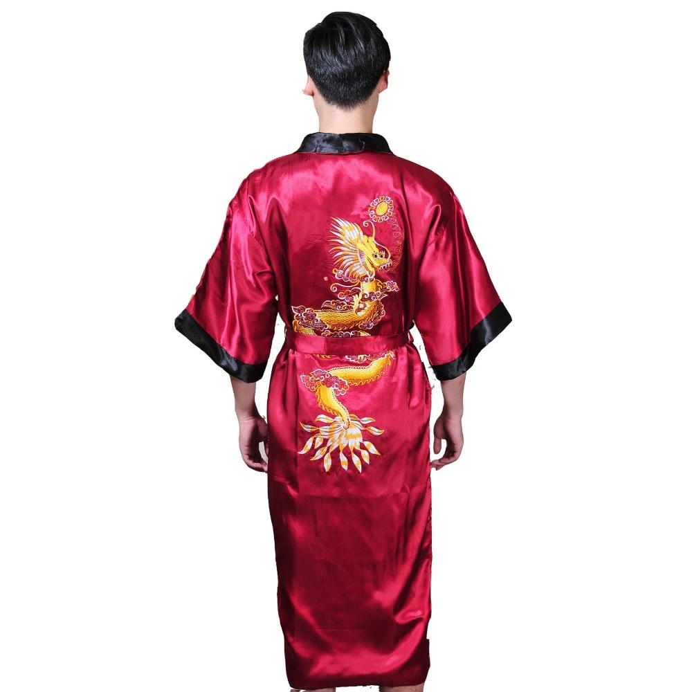 Black/BurgudyReversible Two-Face New Chinese Men's Silk Satin Robe Embroider Dragon Kimono Bathrobe Gown Sleepwear One Size 1307