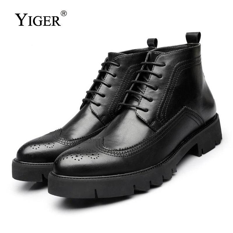 Home Yiger Neue Herbst/winter Neue Männer Stiefel Britischen Spitz Casual Schuhe Aus Echtem Leder Hohe Stiefel Herren Stiefel Martins Stiefel 0010