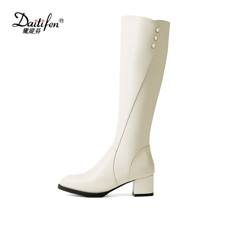 Daitifen Top Quality Leather Knee-High Boots Women Concise Riding Chelsea Boots Female Winter Non Slip Block Heels Shoes Woman woman real leather knee high boots top quality side tassel embellished female knee high boots girls slip on wedges casual shoes