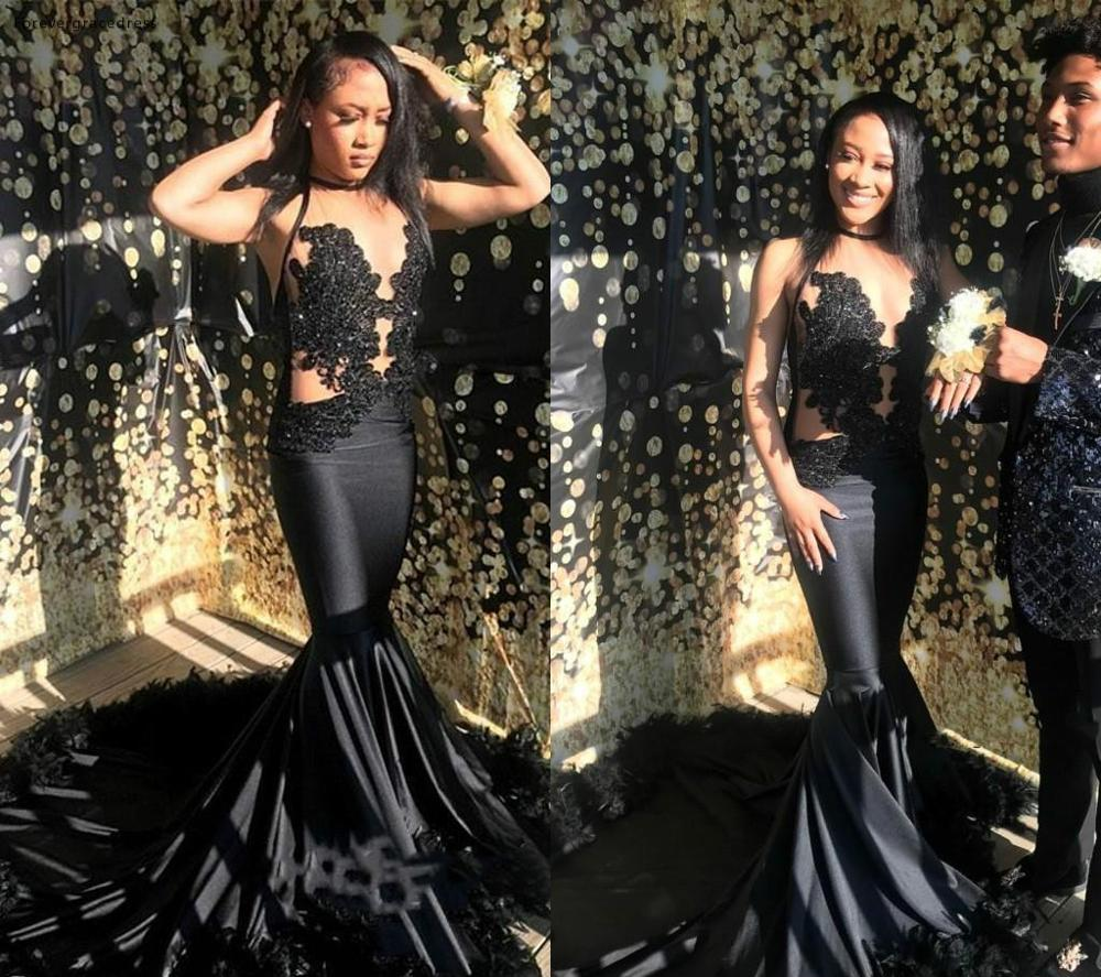 Sexy Mermaid   Prom     Dresses   2019 South African Black Girls Formal Pageant Holidays Wear Graduation Evening Party Gowns Custom Made