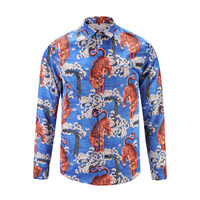 2017 New Arrival Mens Shirt Fashion Design Long Sleeve Slim Fit Men Casual Shirt Flower Pattern High Quality Men Shirt blue