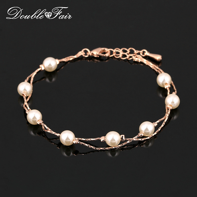 Double Fair Charm Bracelets & Bangles Silver /Rose Gold Color Simulated Pearl Beads Snake Chain Wedding Jewelry For Women DFH169