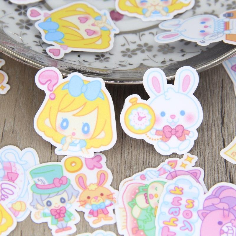 40pcs Cute Alice in Wonderland Scrapbooking Stickers Cartoon Girls Decorative Sticker DIY Craft Photo Albums Decals Diary Deco