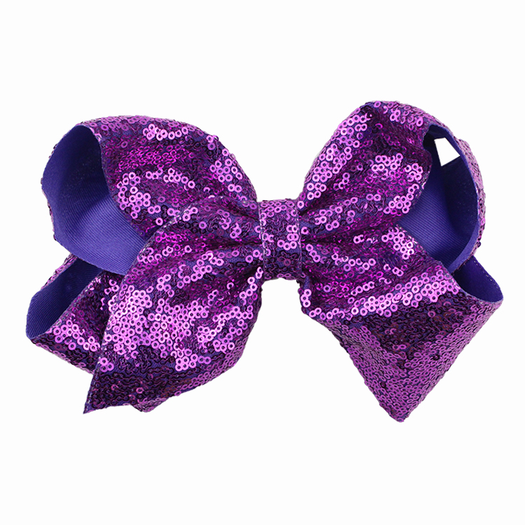 8 inch Jumbo Sequin Rainbow Bow With Hair Clip For Girls Kids Handmade Boutique Knot Jumbo Hair Bow Hairgrips Hair Accessories (16)