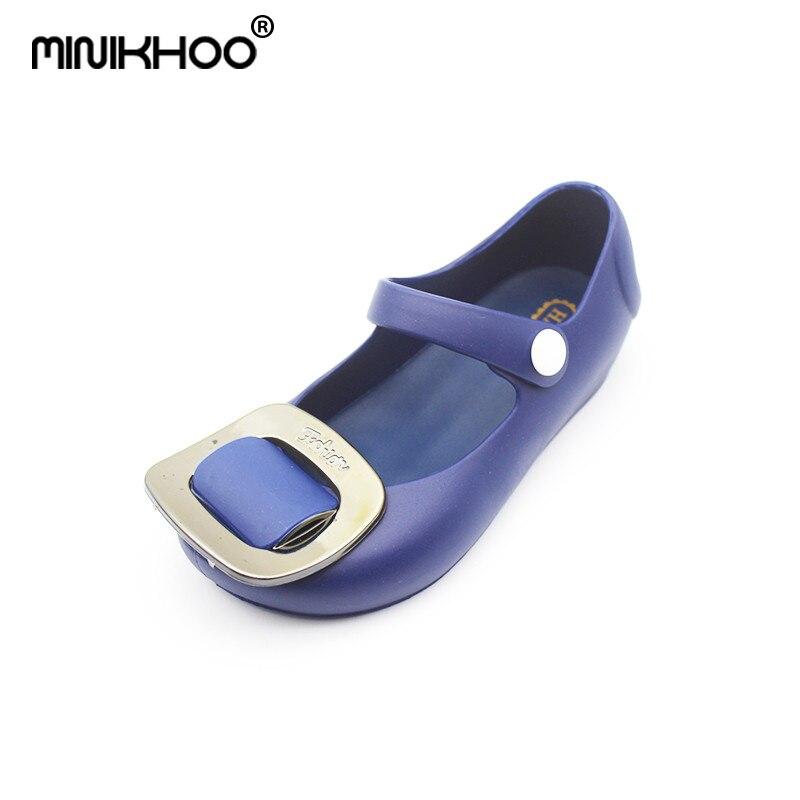 Mini Melissa Square Buckle Jelly Sandals Girl Shoes 2018 New Summer Mini Melissa Sandals Waterproof Rain Shoes Sandals Shoes