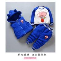 Pigs Boys Clothing Sets Winter Keep Warm kids suits Sweatshirts + Waistcoat + Pants 3pcs Children Clothes Sets 6 months 5 years