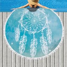 купить Dream Catcher Print Round Large Beach Towel Microfiber Tassel Swimming Picnic Blanket Yoga Mat Bath Towel Livingroom Home Decor дешево