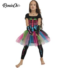 Traje de halloween para crianças meninas funky punky ossos traje criança 2018 esqueleto rocker cosplay tutu vestido fantasia vestido