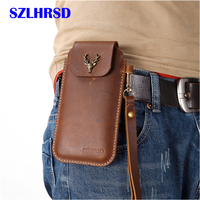 SZLHRSD for AGM A9 Belt Clip Holster Case Cover for AGM M3 Genuine Leather Waist Bag Coque for AGM X2 SE X3