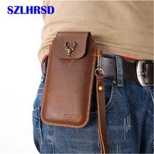 SZLHRSD para Belt Clip Holster Case Capa para AGM AGM A9 M3 X2 Genuíno Saco Da Cintura de Couro Coque para AGM SE X3