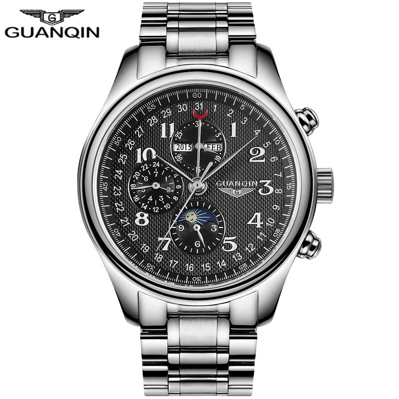 GUANQIN Mannen Clocks Multifunction Automatic Mechanical Waterproof Watch Men Clock Men Watches Relogio Masculino 20022 lo ultimo en reloj tourbillon