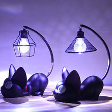 2018 Home Decoration Accessorie Manualidades Miniature Decoration Small Cat Night Light Resin Crafts Decoration(China)