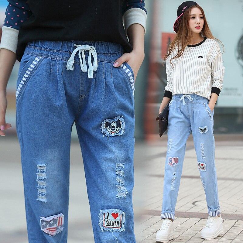 Top Quanlity New Woman Autumn Skinny Jeans Pencil Jean Slim Blue Cotton Jeans Mid Waist Women's Printed Denim Pants DJ-5637 new autumn jeans woman high waist jean