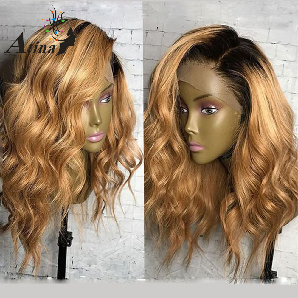Honey Blonde Lace Front Human Hair Wigs 250 Density Short Ombre Wavy Human Lace Wig Remy