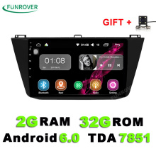 Funrover 2G + 32G 2 din android 6.0 car dvd per VW Volkswagen Tigua 2017 autoradio gps naviagtion con volante di supporto wifi(China)