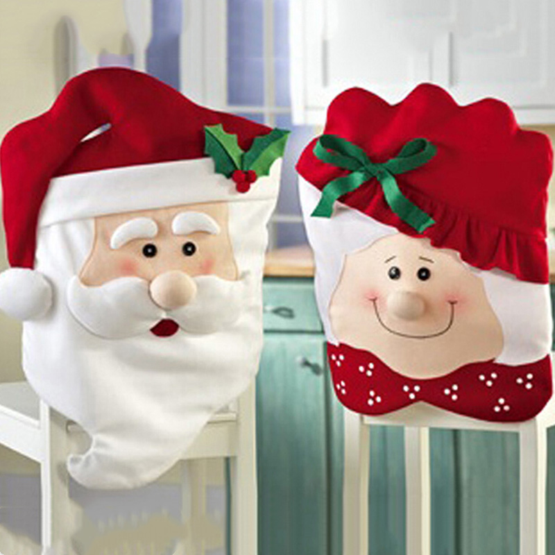 1pc Santa Claus Cap Chair Cover Christmas Dinner Table Red Hat Snowflake Chair Back Cover Xmas Home Decoration Ornament