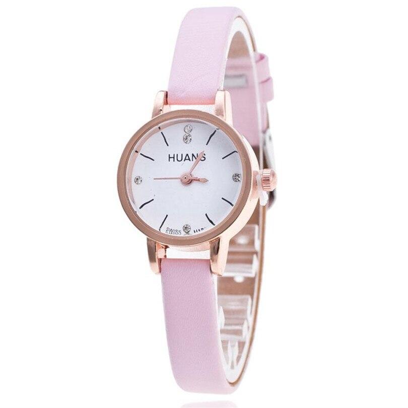 d56b3b774501 Прочный часы женские Relogio feminino из искусственной кожи женские модели  модный тонкий пояс горный хрусталь часы