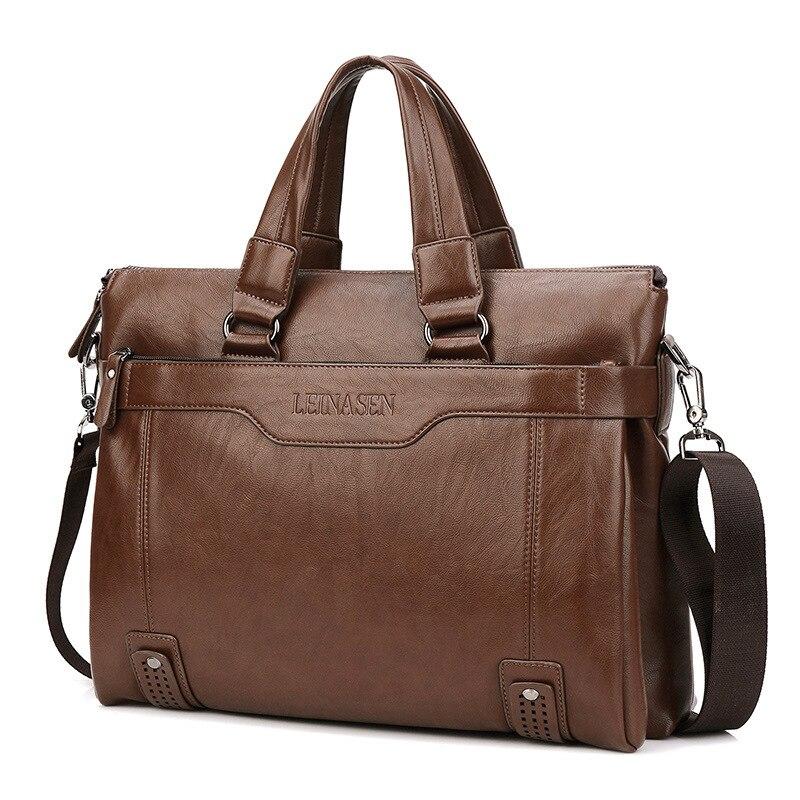 2019 Mode Männer Leder Aktentasche Aus Pu14 Inch Herren Schulter Tasche Für Männer Schulter Tasche Business Aktentasche Tasche