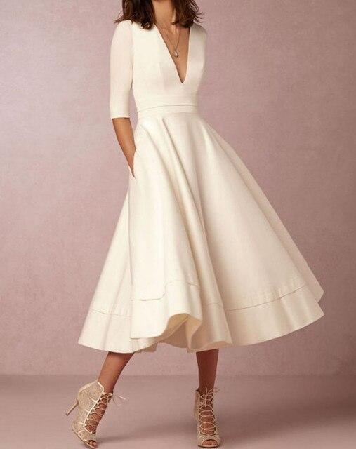 dc14e925aedd Sexy Women Casual Deep V White Evening Elegant Party Dresses Midi Vintage  Dress Robe Femme Vestidos Mujer