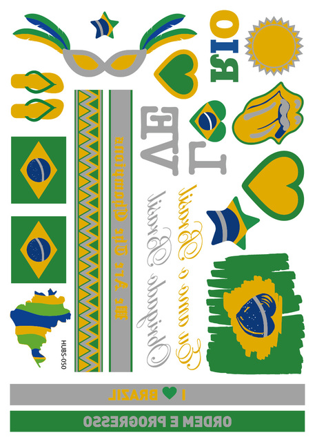 Metallic Gold Silver Flash Flag Tattoo With Brazil France Italy