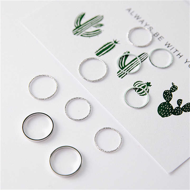 10Pcs Fashion Simple Design Rings For Women Vintage Thin Slim Gold Silver Color Joint Rings Sets for Women Jewelry Finger B40