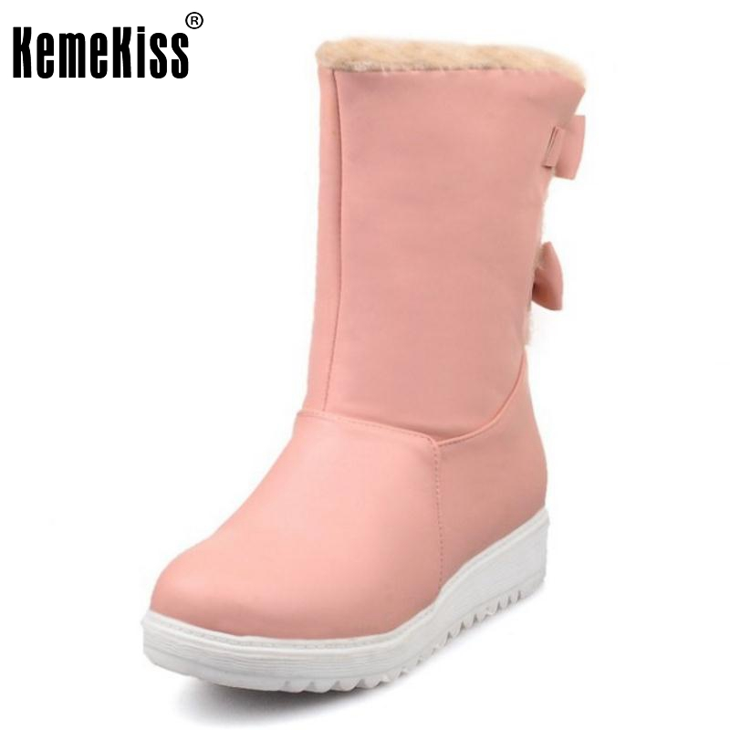 Women Warm Snow Boots New Russia Woman Round Toe Flat Half Knee Boot High Quality Bowtie Plush Winter Shoes Footwear Size 34-40 winter warm snow boots cotton shoes flat heels knee high boots women boots wholesale high quality