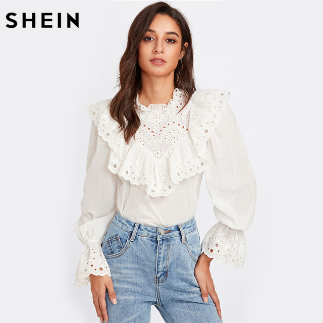 ef49472bbc6 SHEIN Eyelet Embroidered Ruffle and Bell Cuff Blouse White Blouses 2017  Autumn Elegant Women s Long Sleeve