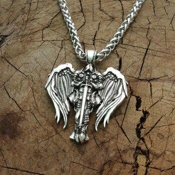 クロス翼ペンダント異教お守り男性 neckalce ステンレス鋼大天使保護ジュエリー
