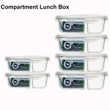 Food Glass Meal Prep Containers 2 Compartment leakproof borosilicate Lunch box Bento Box with lids Freezer Microwave oven