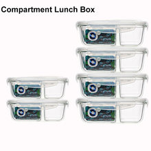Пищевые стеклянные контейнеры для еды 2 отделения герметичный