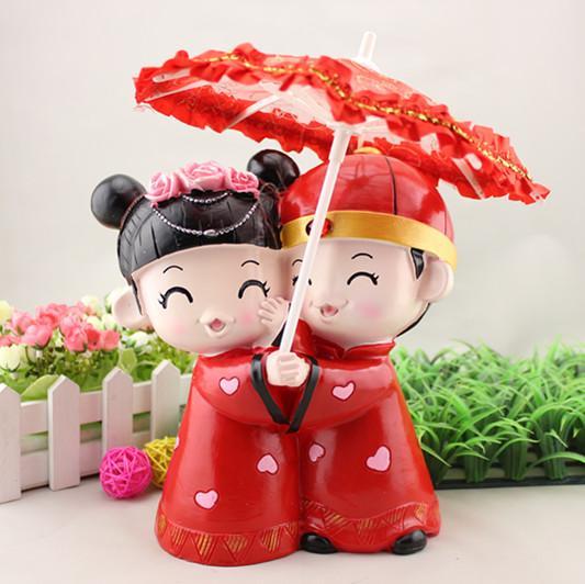 Cadeaux de mariage créatifs style tradition chinoise | Parapluie romantique pour couple, figurines toppers de gâteaux de mariage pour mariée et marié, couleur rouge