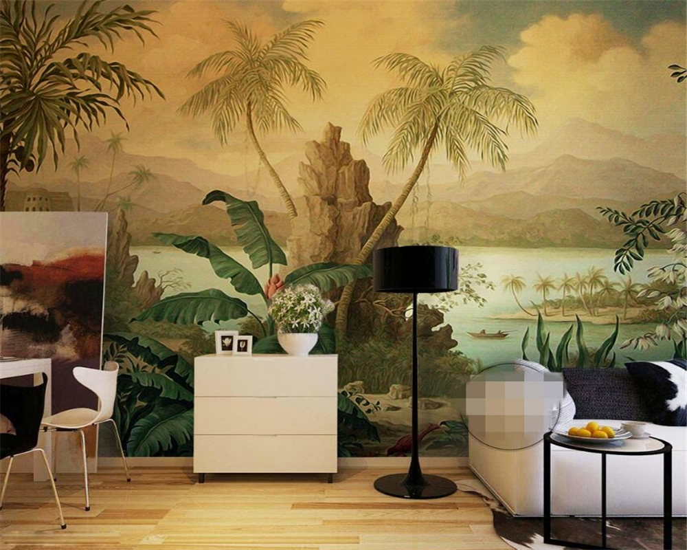 Beibehang wallpaper Retro landscape oil painting tropical rain forest banana coconut tree wall paper 3D living room 3d wallpaper tropical rain forest pastoral plant forest pattern wallpaper living room sofa television background wallpaper decoration