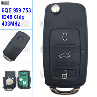 WALKLEE Remote Key 433 MHz Fit for VW/VOLKSWAGEN FOX G2 GOL Voyage G5 HLO 6QE 959 753 / 5FA 009 628 10