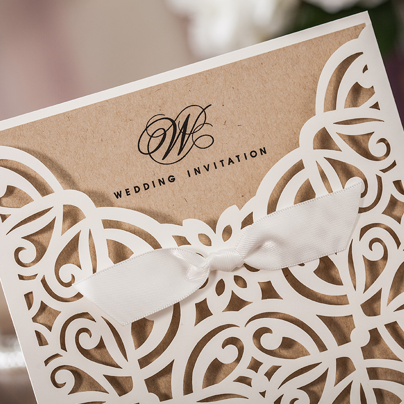 Classical White Wedding invitation card, For Business Party ...