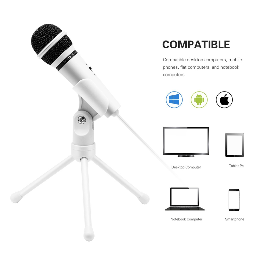 SF-910 Microphone For Phone 3.5mm Cable Wired With Tripod Stand PC Mic For Computer Laptop Karaoke Studio Desktop Recording