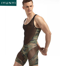 IYUNYI Mens Sexy Underwear Bodysuit Fashion Sexy Man Jumpsuit Wresting Undershirts Shapers Camouflage Ultra Thin Tight Bodysuit(China)