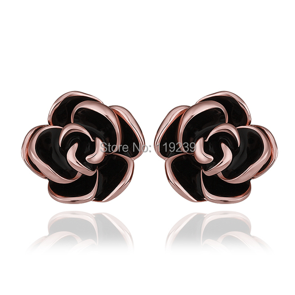 Le924 New Fashion Black Rose Flower Stick Stud Earrings 18 Carat Gold Color Items Women