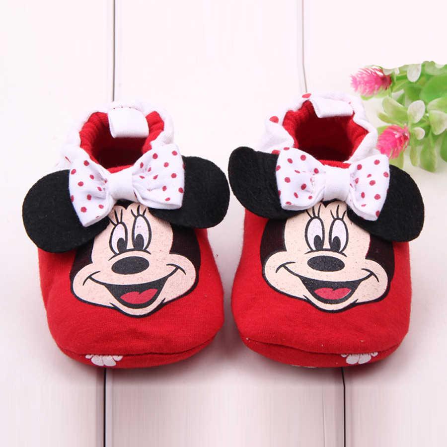 Nhãn hiệu Baby Girl Giày Phim Hoạt Hình Minnie Giày Đế Sơ Sinh Crib Shoes Infant Toddler Dép Unisex Prewalker Giản Dị Thời Trang Giày Dép